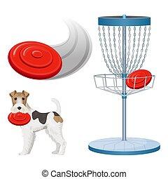 Frisbee Golfspiel Farbe Vektor Illustrator gesetzt Poster