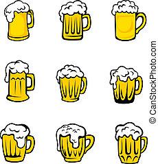 frisch, bier, satz, schaum, brille