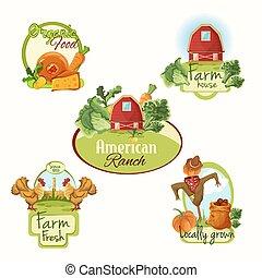 Frische Etiketten für die Landwirtschaft.