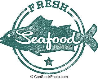 Frische Meeresfrüchte-Menümarke