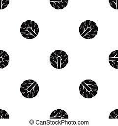 Frische Scheibe Brokkoli Muster nahtlos schwarz