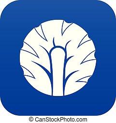 Frische Scheibe von Brokkoli Icon digital blau.