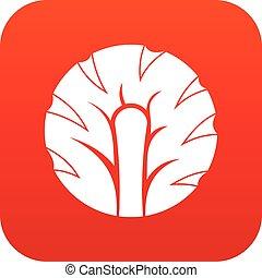 Frische Scheibe von Brokkoli Icon digital rot.