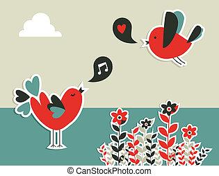 Frische Social Media Vögel Kommunikation