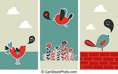 Frische soziale Medien-Vogel-Kommunikation