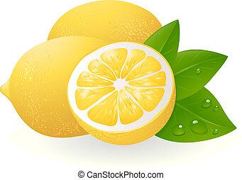 Frische Zitronen mit Blättern