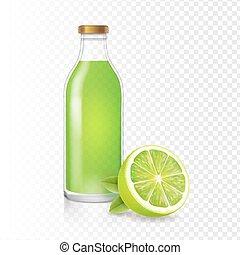 Frischer Kalksaft in Flasche mit Kalkschnitt.