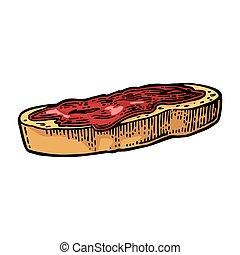 Frisches Brot mit Marmelade.