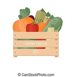 Frisches Gemüse in einer Schachtel.