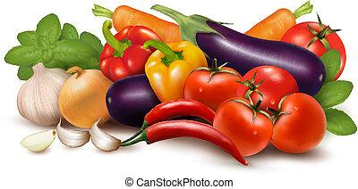 Frisches Gemüse mit Blättern. Gesundes Essen. Vector Illustration