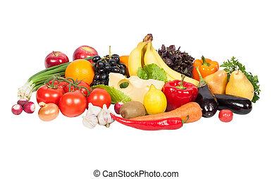 Frisches Gemüse und Obst, isoliert auf weiß.