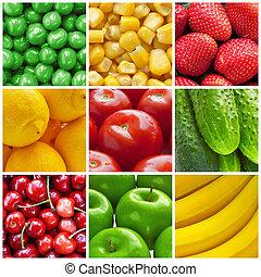 Frisches Obst und Gemüsekollage