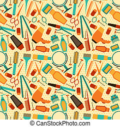 Friseurwerkzeuge nahtlos Muster im Retro-Stil.