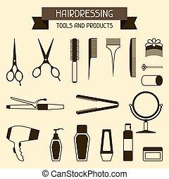 Friseurwerkzeuge und Produkte.