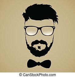 frisur, bart schnurrbart, brille