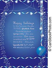 Frohe Feiertage Grüße in vielen Sprachen, schick sie deinen Freunden auf der ganzen Welt und sie verstehen deine Botschaft, Vektor Illustration