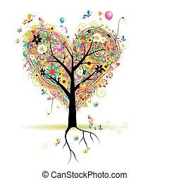 Frohe Feiertage, Herzformbaum mit Ballons