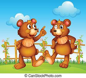 Frohe Gesichter von zwei Bären.