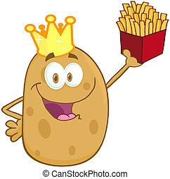 Frohe Kartoffel mit Krone