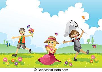 Frohe Kinder im Frühling