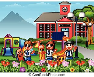 Frohe Schulkinder mit Schreibwaren auf dem Schulhof.