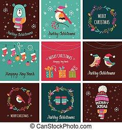 Frohe Weihnachten Design Grußkarten - Doodle Illustrationen.