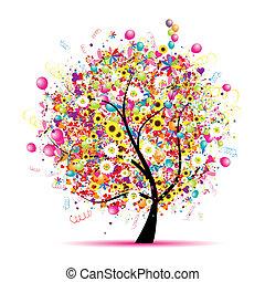 Frohe Weihnachten, lustiger Baum mit Ballons