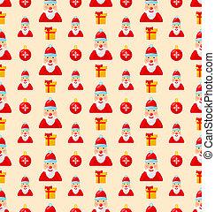 Frohe Weihnachten nahtlos Muster mit Santa und Geschenke.