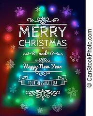 Frohe Weihnachtskarte auf verschwommenem Hintergrund