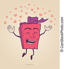 Frohe Zeichentrickfigur von Valentin.