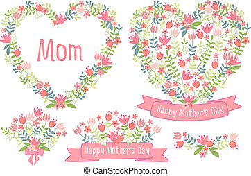 Froher Muttertag, Blumenherzen.