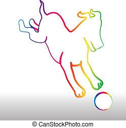 Froher Regenbogenhund mit Balllogo.