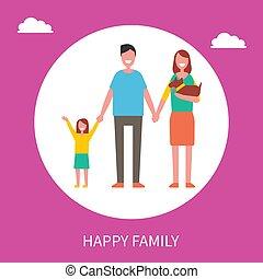 Frohes Familien-Vektor-Poster mit Eltern, Tochter