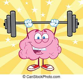 Frohes Gehirn, das Gewicht hebt.