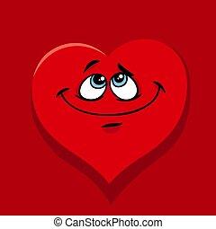 Frohes Herz in der Liebes-Cartoon Illustration.