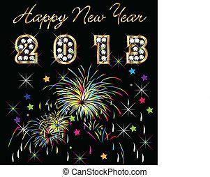 Frohes neues Jahr 2013 mit Feuerwerk