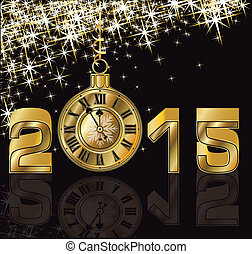 Frohes neues Jahr 2015 goldene Uhr.