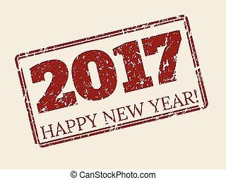 Frohes neues Jahr 2017 Briefmarkendesign.