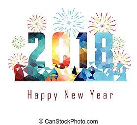Frohes neues Jahr 2018 mit Firework Hintergrund.