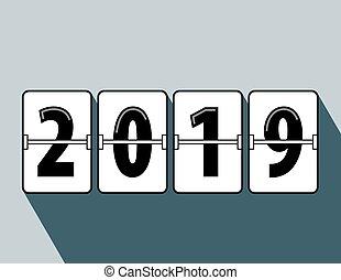 Frohes neues Jahr 2019 Flip-Stil