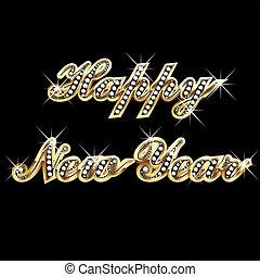 Frohes neues Jahr in Gold und Bling