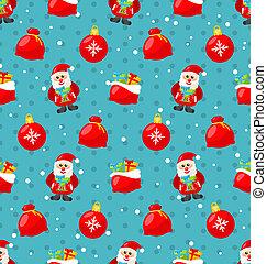 Frohes neues Jahr nahtloses Muster mit Santa und Geschenke.
