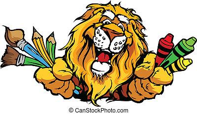 Frohes Vorschul-Löwen-Maskott-Karikatur-Vektorbild