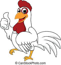 Frohes weißes Huhn mit OK