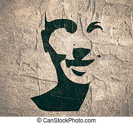 front, kopf, silhouette., ansicht., gesicht