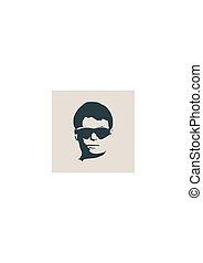front, mann, avatar, silhouette, ansicht., mann, gesicht