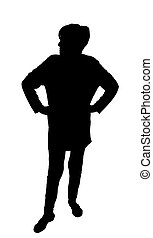Front-Profil Portrait Silhouette der wütenden Frau mit Händen auf Hüften.