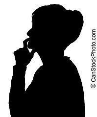 Front Profil Portrait Silhouette von älteren Damen Finger auf Lippen denken.
