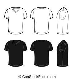 Front, Rücken und Seitenblick auf ein leeres T-Shirt