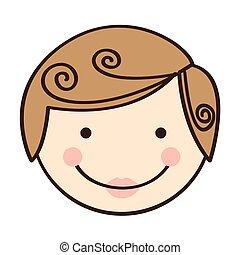 Front-View farbenfrohe Silhouette Zeichentrick-Mann Gesicht.